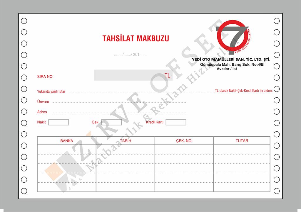 Sürekli Form A5 fatura basımı